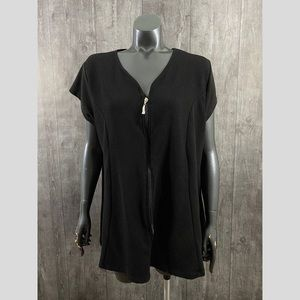 Rogue Plus Size 4X Black Zippered Textured Top